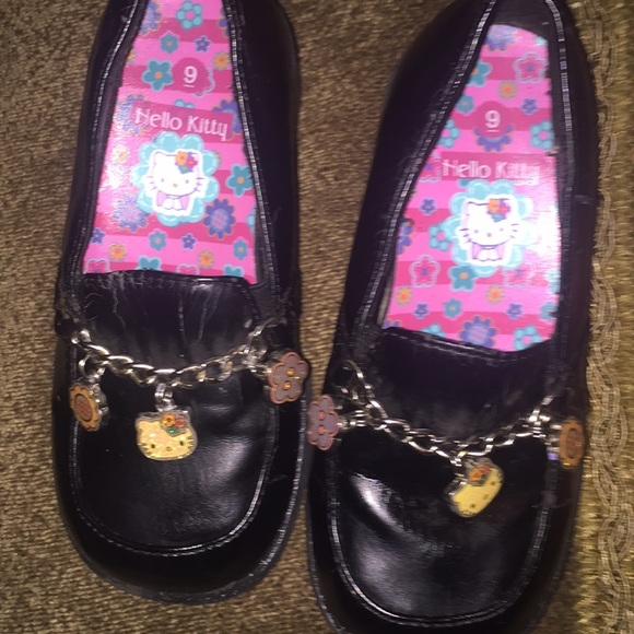 44d44a1f1 Hello Kitty Shoes | Sanrio Black Leather Girls Loafers | Poshmark